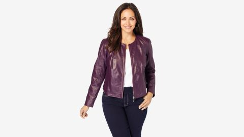 Woman Within Collarless Leather Jacket