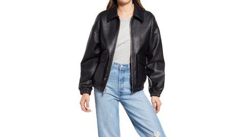 Levi's Faux Leather Dad Bomber Jacket