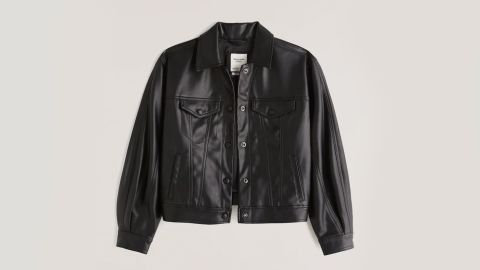 Abercrombie & Fitch Relaxed Vegan Leather Trucker Jacket