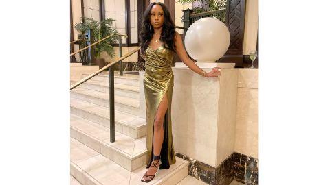 Tobi So Long Side Slit Maxi Dress In Gold