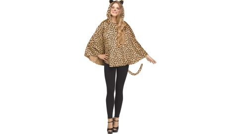 Adult Leopard Hooded Poncho