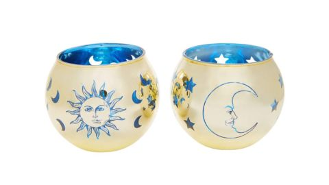 Goldtone Tarot Candle Holders, 2-Pack