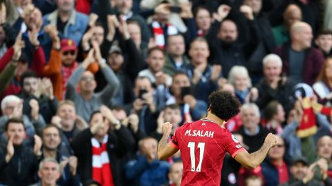 LIVERPOOL, ENGLAND - OCTOBER 03: Mohamed Salah of Liverpool celebrates after scoring their side's second goal during the Premier League match between Liverpool and Manchester City at Anfield on October 03, 2021 in Liverpool, England. (Photo by Michael Regan/Getty Images)