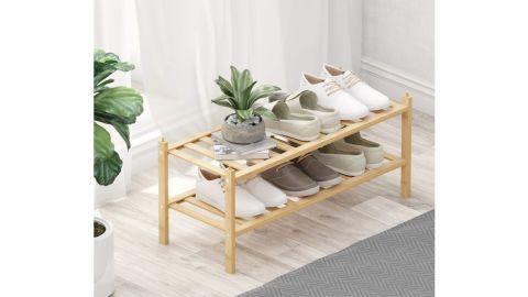 Bameos 2-Tier Bamboo Shoe Rack