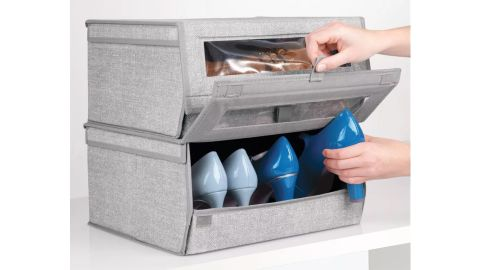 mDesign Stackable Fabric Shoe Box