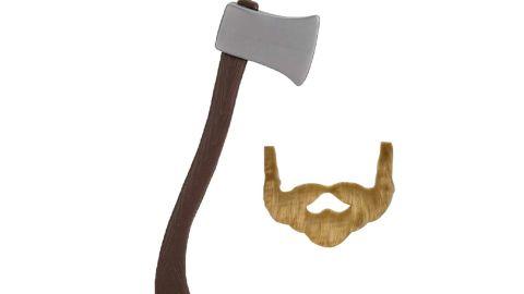 Novelty Giant 60cm Plastic Lumberjack Axe & Brown Beard Costume Set