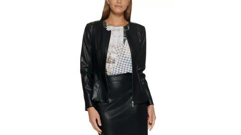DKNY Faux-Leather Blazer