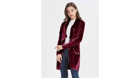 Futurino Solid Long Sleeve Velvet Blazer