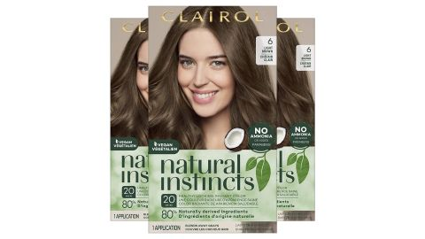 Clairol Natural Instincts Semi-Permanent Hair Dye, 6 Light Brown Hair Color, 3 Count