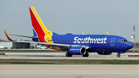 A Southwest Airlines Boeing 737-7H4 jet taxis to the gate after landing at Midway International Airport in Chicago, Illinois, on April 6, 2021. (Photo by KAMIL KRZACZYNSKI / AFP) (Photo by KAMIL KRZACZYNSKI/AFP via Getty Images)