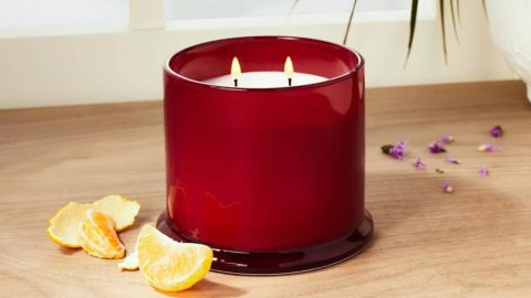 Opalhouse Designed With Jungalow Glass Lidded Burgundy Candle