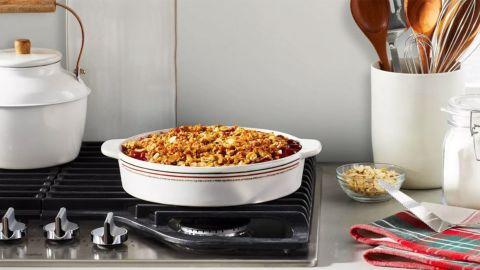 "Hearth & Hand With Magnolia 10"" Holiday Stripes Stoneware Round Baking Dish"