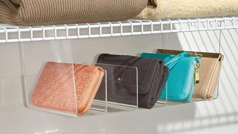 mDesign Plastic 5 Compartment Hanging Closet Storage Organizer Tray