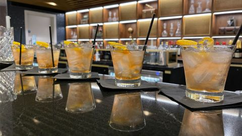 """One of the mocktails, dubbed """"Hare of the Fog,"""" an alcohol-free Negroni."""