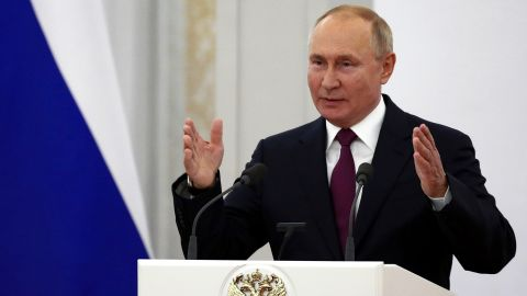 Russian President Vladimir Putin gestures delivering his speech during a meeting with lawmakers of the new convocation of the State Duma, the lower house of the Russia's parliament, in Moscow, Russia, Tuesday, Oct. 12, 2021. (Sergei Bobylev, Sputnik, Kremlin Pool Photo via AP)