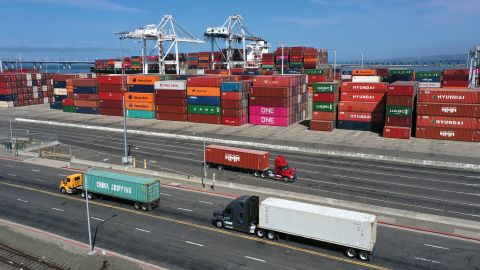 Shipping containers sit in dock at the Port of Oakland on September 09, 2021 in Oakland, California. As the COVID-19 pandemic continues, a shortage of shipping containers has caused the price of the containers to skyrocket and has disrupted the supply chain.