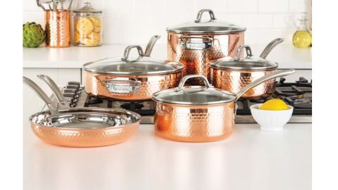 Viking Copper Clad 3-Play Hammered 10-Piece Cookware Set