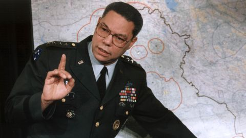 Colin Powell, chairman of the US Joint Chief of Staff, makes a point about the entrenched Iraqi troops in Kuwait during a briefing at the Pentagon 23 January 1991, Washington, DC. According to Powell, the US has achieved air superiority in the week-old Persian Gulf War.   AFP PHOTO/J.David AKE (Photo credit should read J. DAVID AKE/AFP via Getty Images)