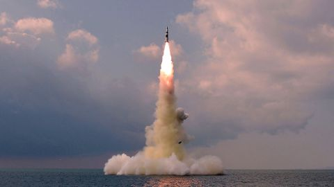"""This picture taken on October 19, 2021 and released from North Korea's official Korean Central News Agency (KCNA) on October 20, 2021 shows test fire of a new type submarine-launched ballistic missile in an undisclosed location in North Korea. (Photo by various sources / AFP) / South Korea OUT / ---EDITORS NOTE--- RESTRICTED TO EDITORIAL USE - MANDATORY CREDIT """"AFP PHOTO/KCNA VIA KNS"""" - NO MARKETING NO ADVERTISING CAMPAIGNS - DISTRIBUTED AS A SERVICE TO CLIENTS / THIS PICTURE WAS MADE AVAILABLE BY A THIRD PARTY. AFP CAN NOT INDEPENDENTLY VERIFY THE AUTHENTICITY, LOCATION, DATE AND CONTENT OF THIS IMAGE --- /  (Photo by STR/AFP via Getty Images)"""