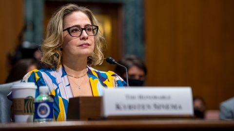 WASHINGTON, DC - OCTOBER 19: U.S. Sen. Kyrsten Sinema (D-AZ) speaks during a United States Senate Committee on Finance hearing to consider Chris Magnus's nomination to be Commissioner of U.S. Customs and Border Protection on October 19, 2021 in Washington, DC. The hearing for Magnus's confirmation comes after it was delayed for several months by Chairman Sen. Ron Wyden (D-OR), who called on the Department of Homeland Security to release documents related to the involvement of DHS in the street protests in Portland, Oregon. (Photo by Rod Lamkey-Pool/Getty Images)