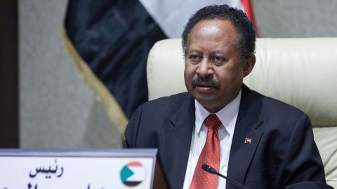 Sudan's Prime Minister Abdalla Hamdok chairs an emergency cabinet session in the capital Khartoum, on October 18, 2021. (Photo by - / AFP) (Photo by -/AFP via Getty Images)