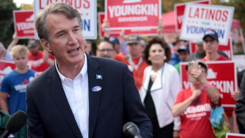 FAIRFAX, VIRGINIA - SEPTEMBER 23:  Republican gubernatorial candidate Glenn Youngkin speaks to members of the press after casting an early ballot September 23, 2021 in Fairfax, Virginia. Youngkin is running against Democrat Terry McAuliffee for governor in the Commonwealth of Virginia. (Photo by Win McNamee/Getty Images)