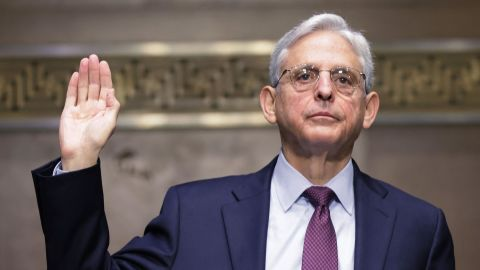 """US Attorney General Merrick Garland is sworn in before a Senate Judiciary Committee hearing on """"Oversight of the United States Department of Justice,"""" on Capitol Hill in Washington, DC, October 27, 2021."""