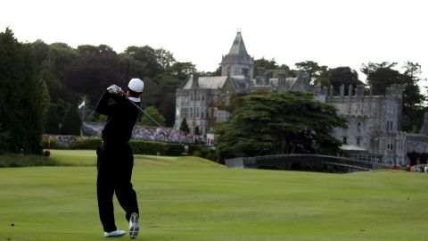 LIMERICK, IRELAND - JULY 05:  Tiger Woods of the USA hits his second shot on the 18th hole during the first round of The JP McManus Invitational Pro-Am event at the Adare Manor Hotel and Golf Resort on July 5, 2010 in Limerick, Ireland.  (Photo by Andrew Redington/Getty Images)