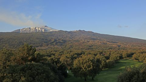 CATANIA, ITALY - OCTOBER 23:  View of the 9th fairway and Mount Etna prior to the second round of the Sicilian Senior Open played at Il Picciolo Golf Club on October 23, 2010 in Catania, Italy.  (Photo by Phil Inglis/Getty Images)