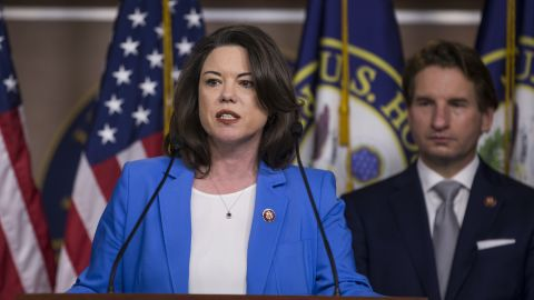 In this file photo, Rep. Angie Craig speaks at a news conference on Jan. 29, 2019 in Washington, DC.