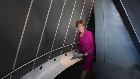 Sturgeon makes her way to the stage in Edinburgh