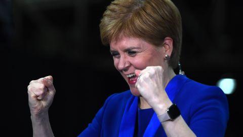 Nicola Sturgeon celebrates on election night