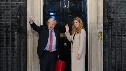 UK PM Boris Johnson with his girlfriend Carrie Symonds