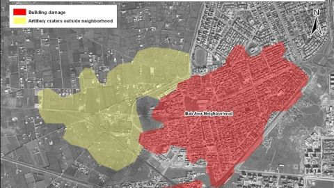 This image shows areas of concentrated building damage and artillery craters between February 5 and March 5 in Homs, Syria.